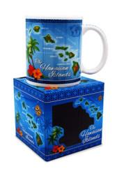 10 oz. Hawaiian Mug Map Blue