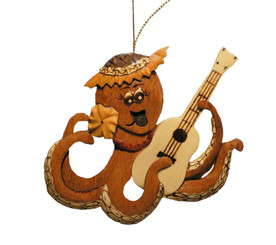 Handmade Wood Christmas Ornament Octopus With Ukulele