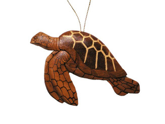 Handmade Wood Christmas Ornament Swimming Turtle Honu