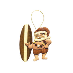 Handmade Wood Christmas Ornament Surfing Santa