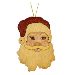 Handmade Wood Christmas Ornament Santa Face
