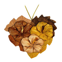 Handmade Wood Christmas Ornament Heart Shaped Hibiscus Flowers