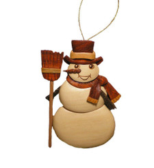 Handmade Wood Christmas Ornament Snowman With Broom