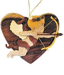Handmade Wood Christmas Ornament Lover's Cupid