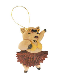 Handmade Wood Christmas Ornament Hula Pig