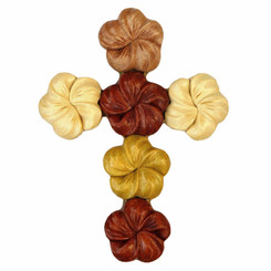 Wood Wall Hanging Cross Plumeria