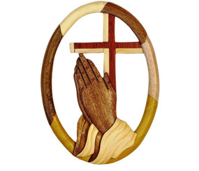 Wood Wall Hanging Oval Praying Hands And Cross