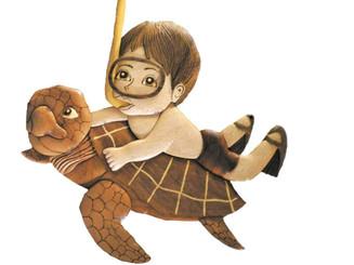 Wood Wall Hanging Snorkel Boy Riding Turtle
