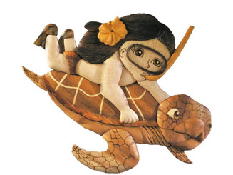 Wood Wall Hanging Snorkel Girl Riding Turtle