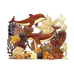 Wood Wall Hanging Sea Life With Coral & Dolphins