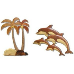 Wood Wall Set Palm Trees and Dolphins