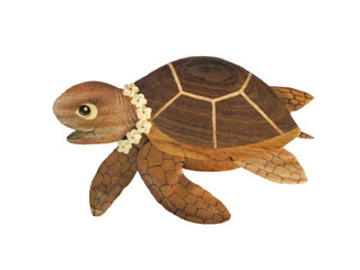 Wood Wall Hanging Aloha Turtle With Plumeria Lei