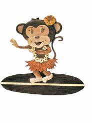 Wood Wall Hanging Hula Monkey On Surfboard
