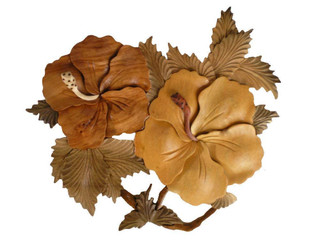 "Wood Wall Hanging Double Hibiscus Flower 12"" x 9"""