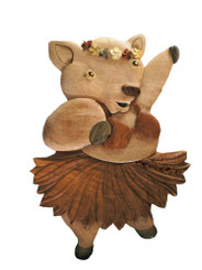 Wood Wall Hanging Hula Pig With Plumerias