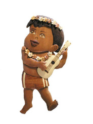 Wood Wall Hanging Local Boy With Ukulele