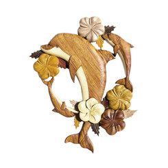 Wood Wall Hanging 3 Dolphins Plumeria Large