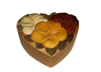 Wood Keepsake Jewelry Puzzle Box Triple Hibiscus