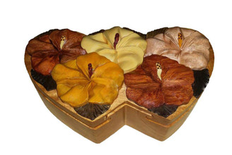 Wood Keepsake Jewelry Puzzle Box Double Heart Hibiscus Bouquet