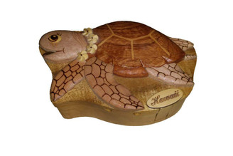 Wood Keepsake Jewelry Puzzle Box Turtle With Plumeria Lei