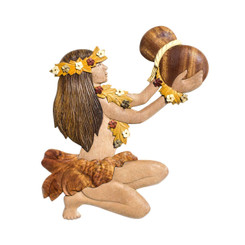Handmade Wood Magnet Female Hula Dancer With Ipu