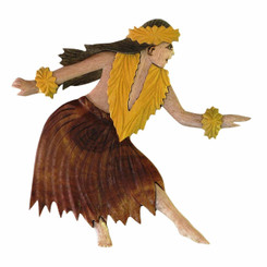 Handmade Wood Magnet Female Hula Dancer