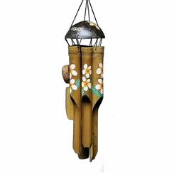 Wind Chime Carved Bamboo 30.5 Inch Plumeria