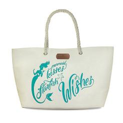 Rope Handle Beach Tote Bag Mermaid Wishes