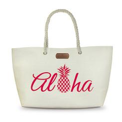 Rope Handle Beach Tote Bag Aloha Pineapple PInk
