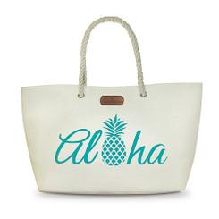 Rope Handle Beach Tote Bag Aloha Pineapple Blue