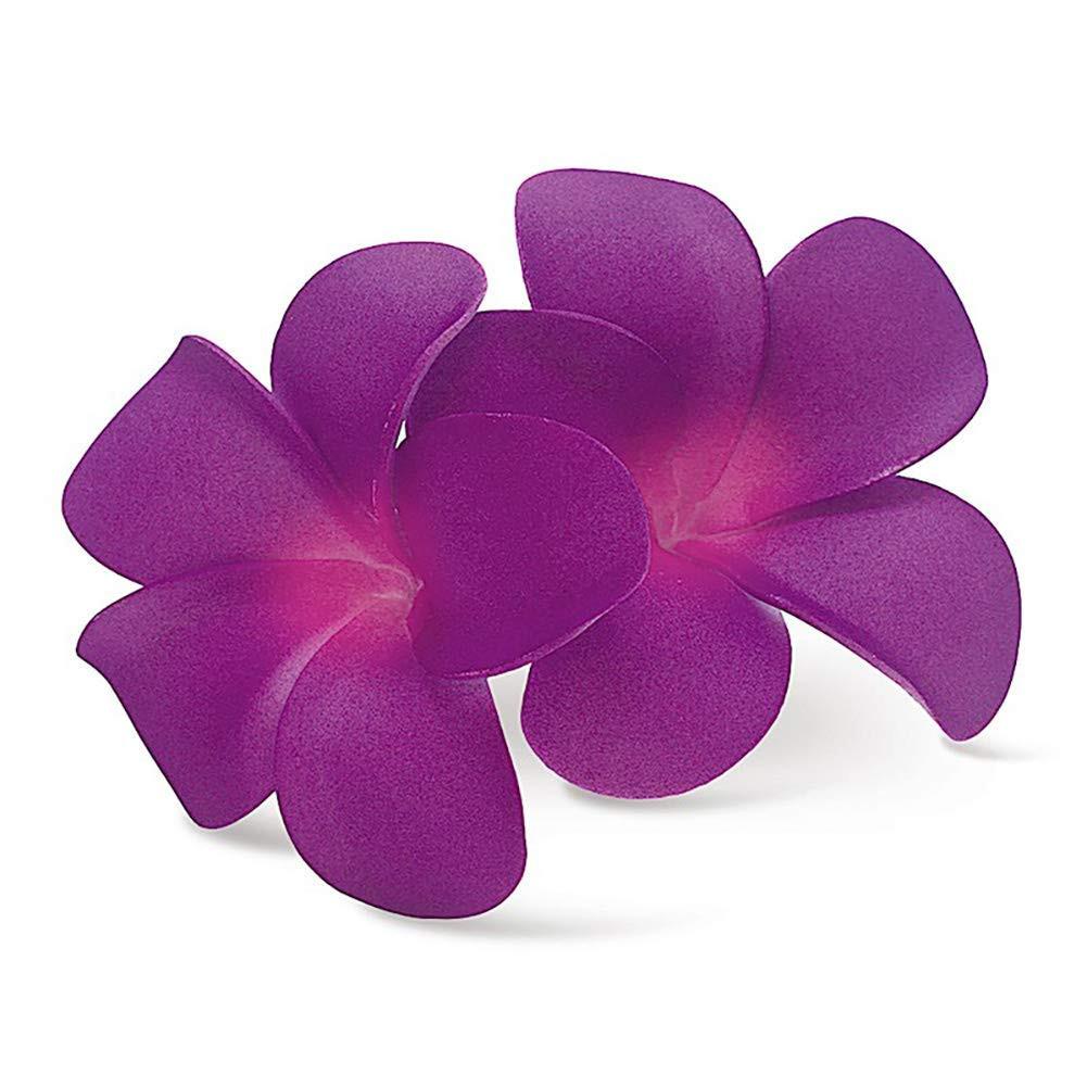 e83e3c973 Hawaii Hair Clip Foam Double Flower Plumeria Purple - Buns Of Maui