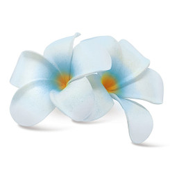 Hawaii Hair Clip Foam Double Flower Plumeria White Blue