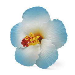 Hawaii Hair Clip Foam Flower Hibiscus Blue