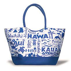 Large Beach Tote Bag Hawaii Adventures Navy
