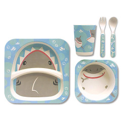 Children's Bamboo Fiber Dining Set Shark Bites