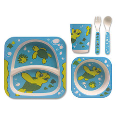 Children's Bamboo Fiber Dining Set Honu Turtle Ohana