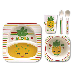 Children's Bamboo Fiber Dining Set Pineapple Pals