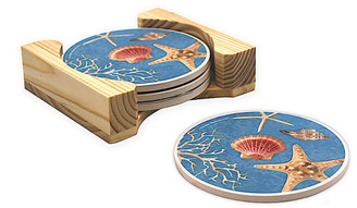 Round Stone Coasters 4 Pack Wood Storage Caddy Island Shells