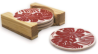 Round Stone Coasters 4 Pack Wood Storage Caddy Hibiscus Floral