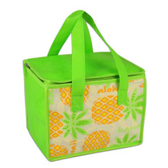 "Insulated Tote Bag Aloha Pineapple 9"" x 6.5"" x 6.5"""