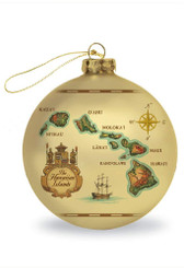 Glass Ornament Hawaii Map