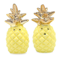 Ceramic Pineapple Salt & Pepper Shakers Yellow