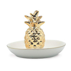 Pineapple Ceramic Decorative Trinket Dish Gold