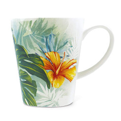 13 oz Lauren Roth Ceramic Art Mug Tropical Garden