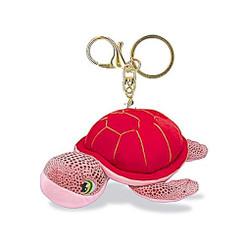 "Key Chain Plush Honu Turtle Pink 4.4"" W x 2.2"""