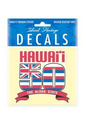 Hawaii 50th State 4 Inch x 3.38 Inch Decal Sticker
