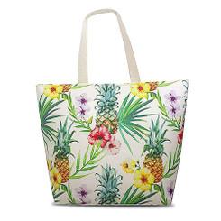 Island Heritage Tropical Beach Tote Bag Pineapple Hibiscus