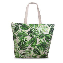 Island Heritage Tropical Beach Tote Bag Monstera Green