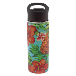 Island Heritage Hawaii Style Island Flask Tumbler Tropical Pineapple Teal