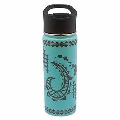 Island Heritage Hawaii Style Island Flask Tumbler Tribal Hook Teal